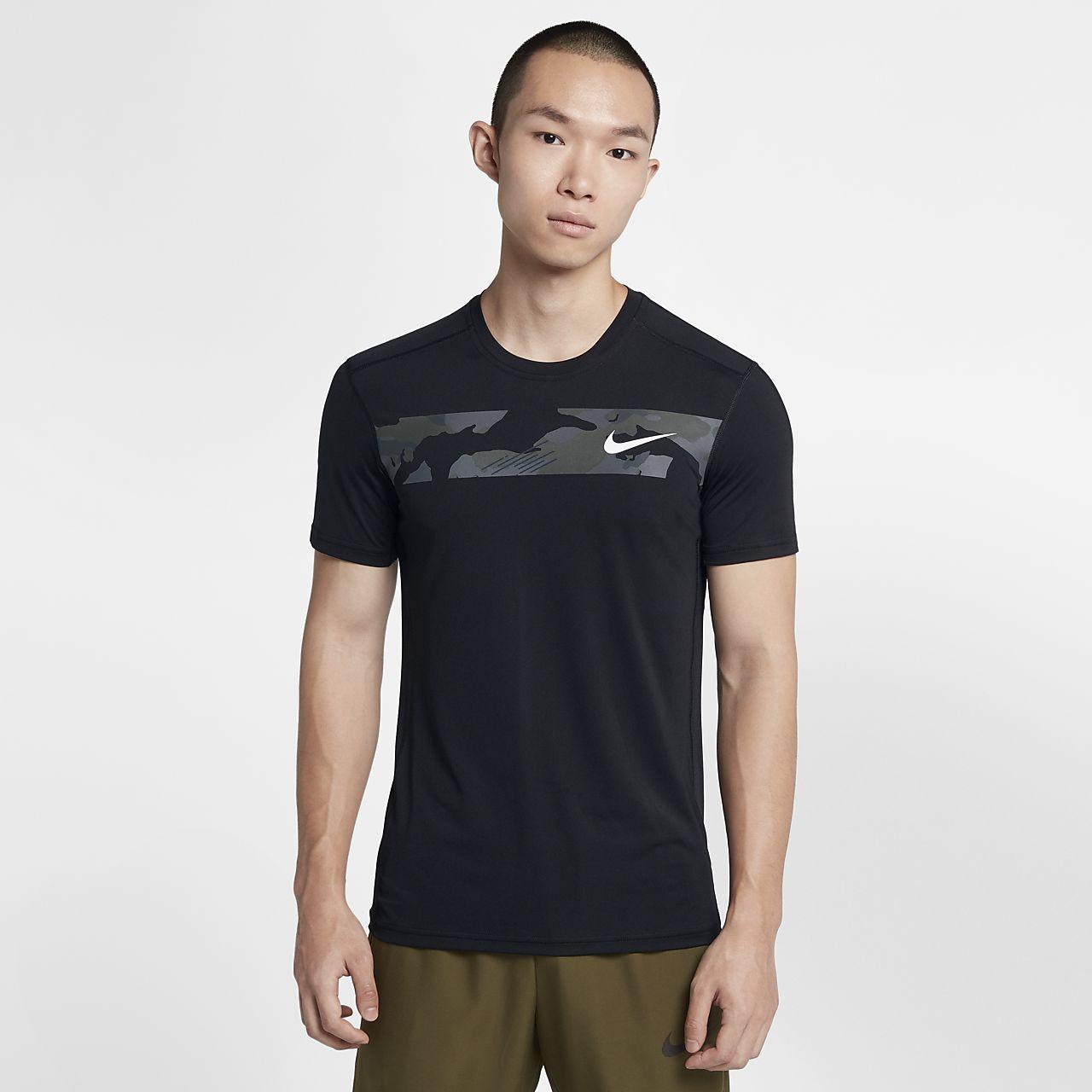เสื้อเทรนนิ่งลายพรางแขนสั้นผู้ชาย Nike