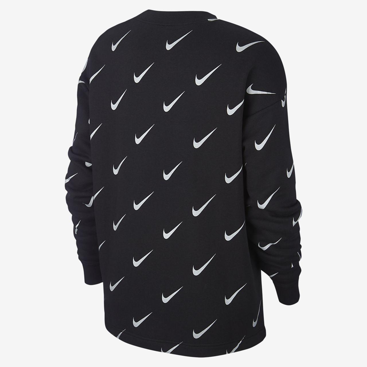 37783cf4dd ... Nike Sportswear Rally kerek nyakkivágású, mintás, fémes női pulóver