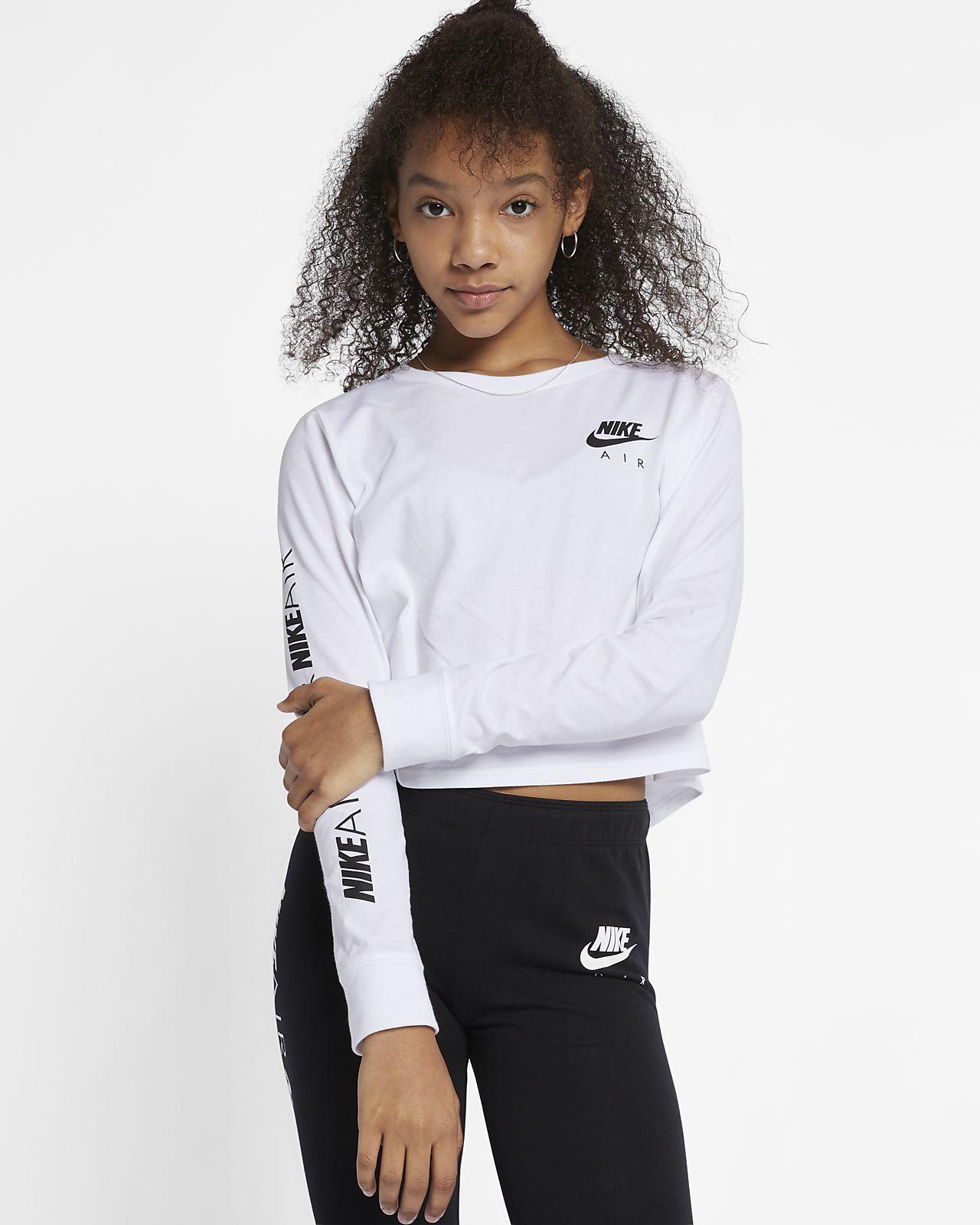 d358fd100a8cf5 Nike Air Big Kids  (Girls ) Long-Sleeve Crop Top. Nike.com