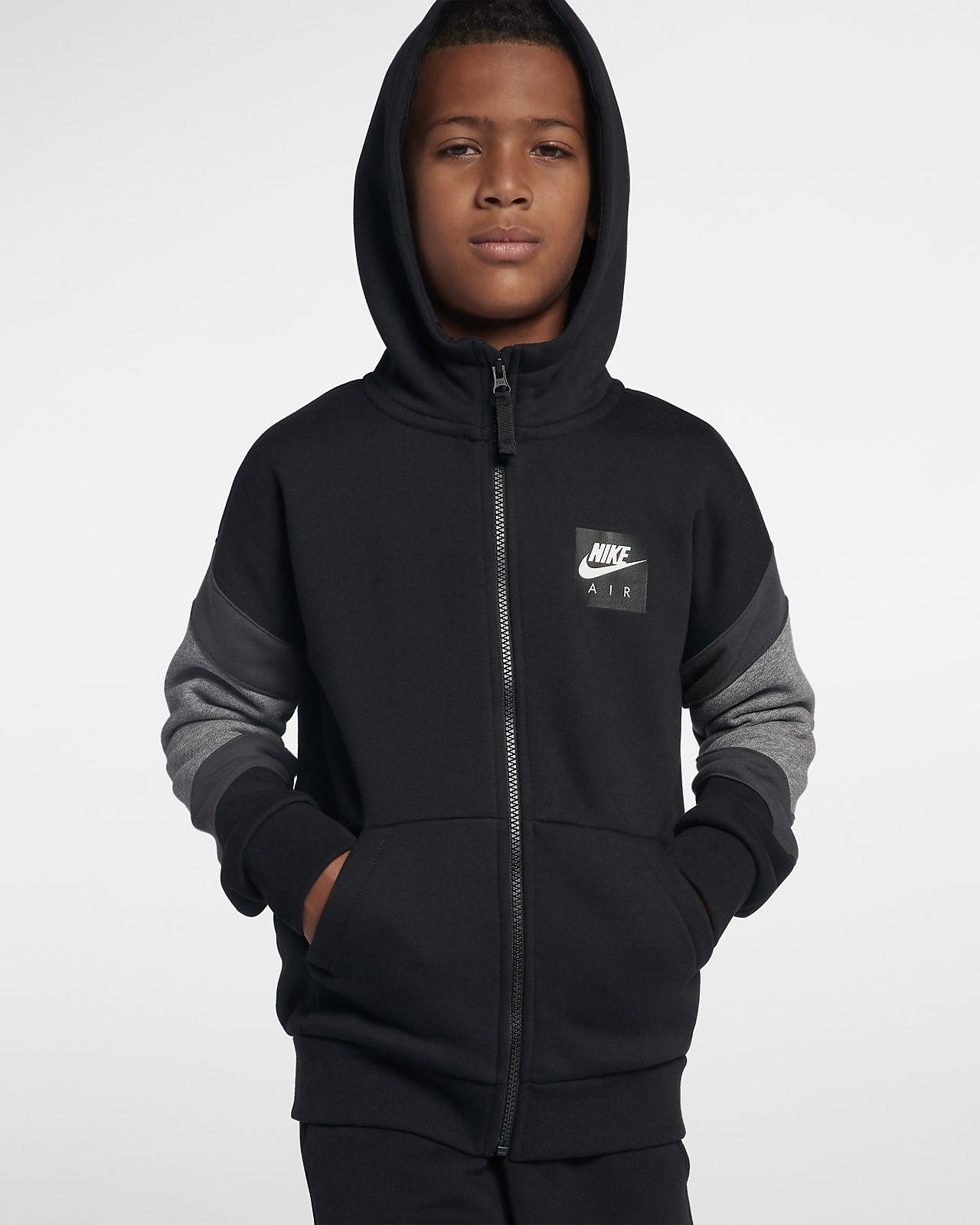 Nike Air hettejakke med hel glidelås til store barn (gutt)