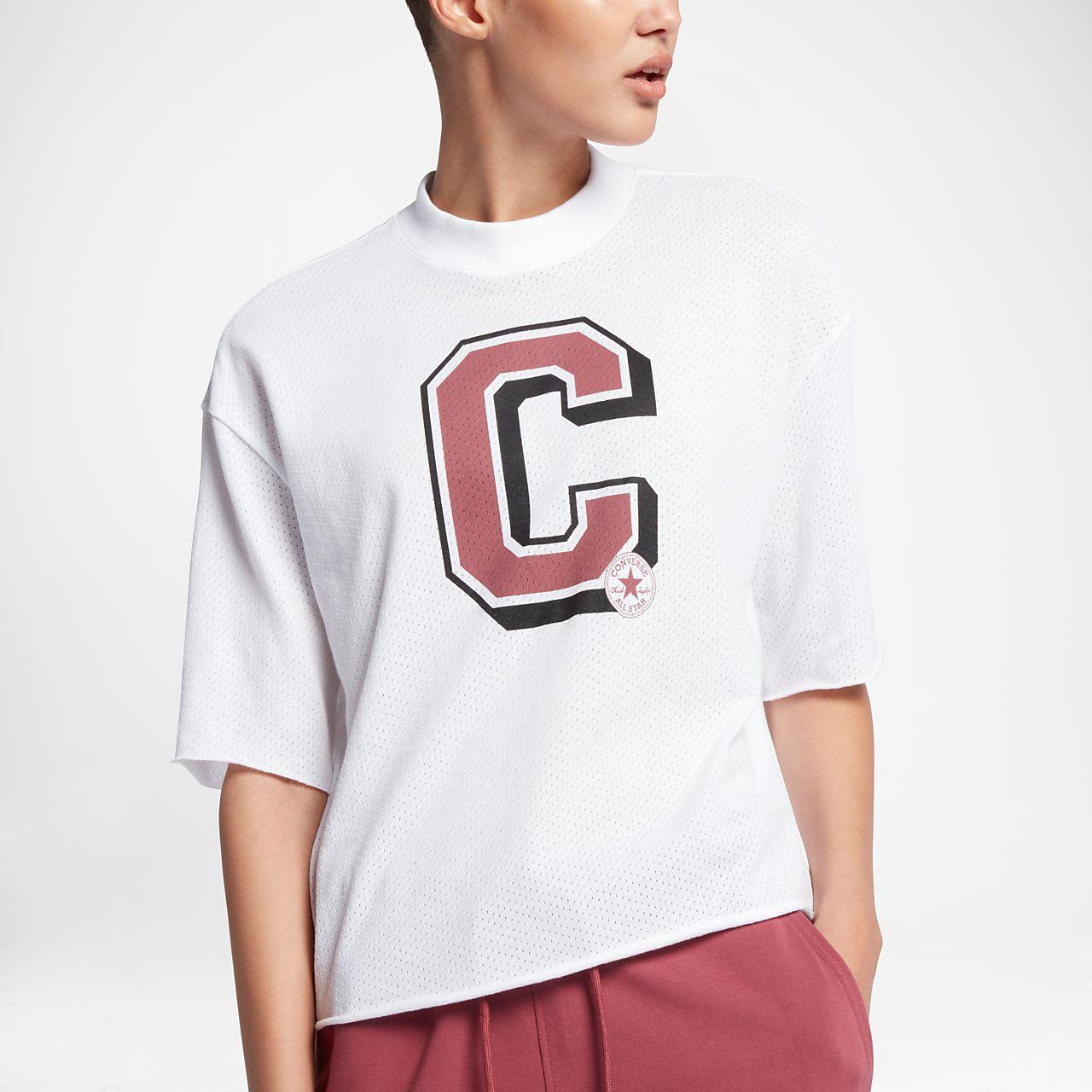 Converse Mesh Varsity Mock Neck Women 39 S T Shirt