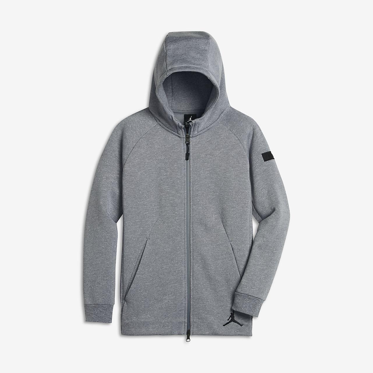 Huvtröja Jordan Icon Fleece Full-Zip för ungdom (killar)
