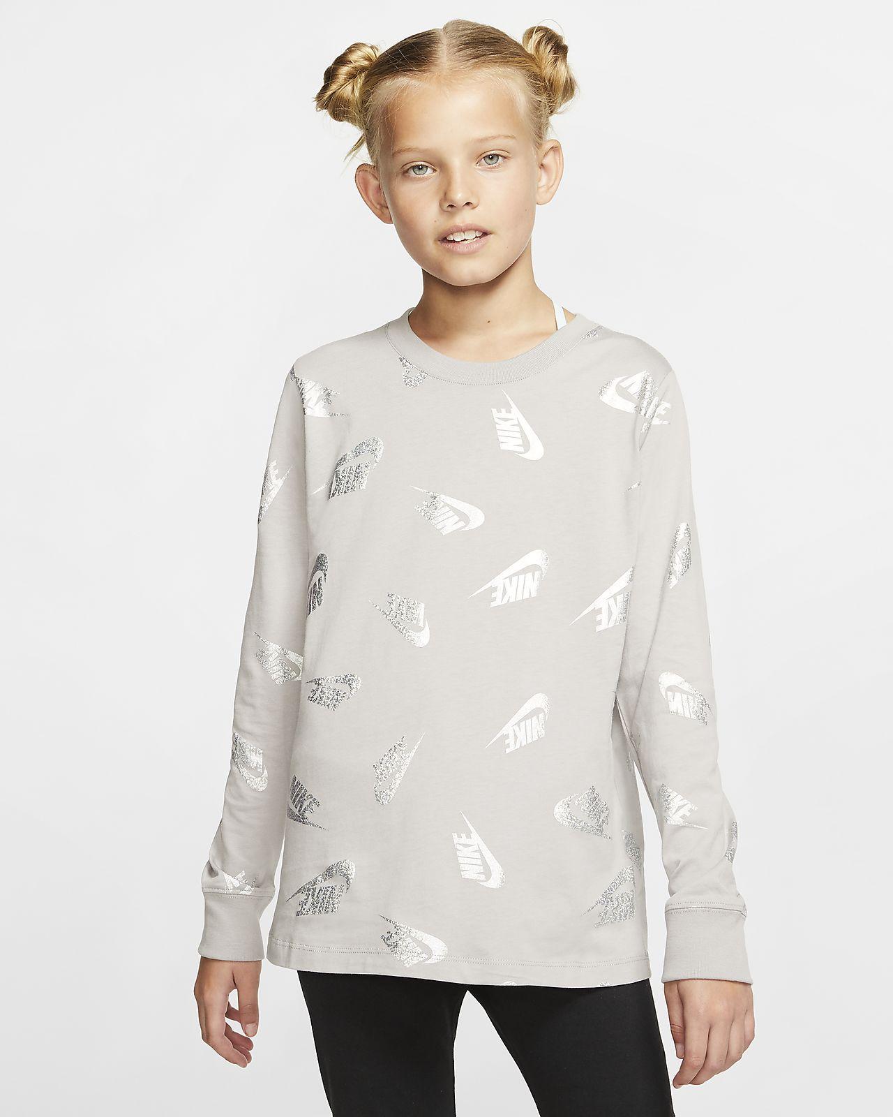 Nike Sportswear langermet T-skjorte til store barn