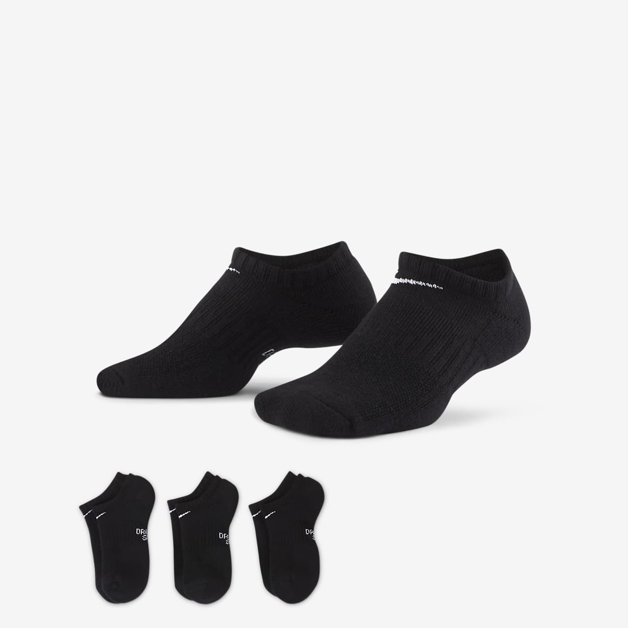 Nike Everyday Older Kids' Cushioned No-Show Socks (3 Pairs)