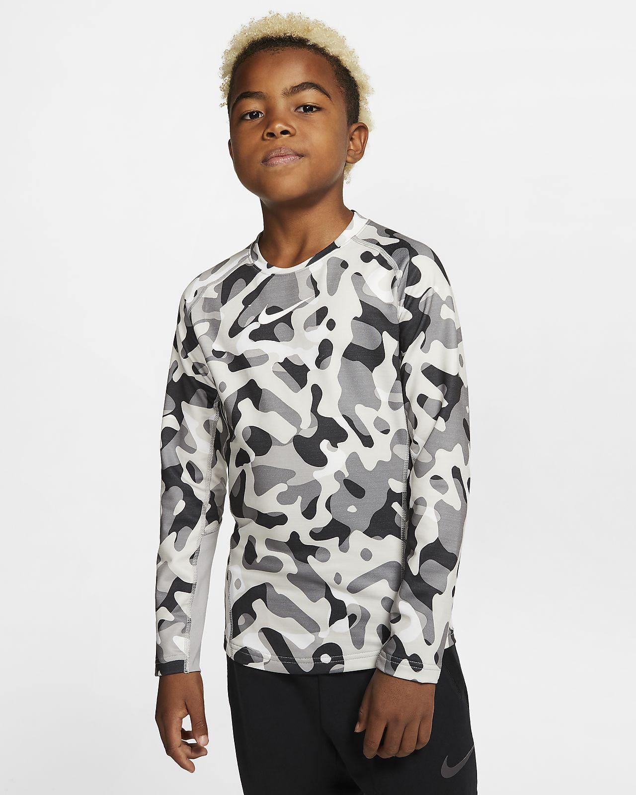 Nike Pro Warm Trainingsshirt met ronde hals en print voor jongens