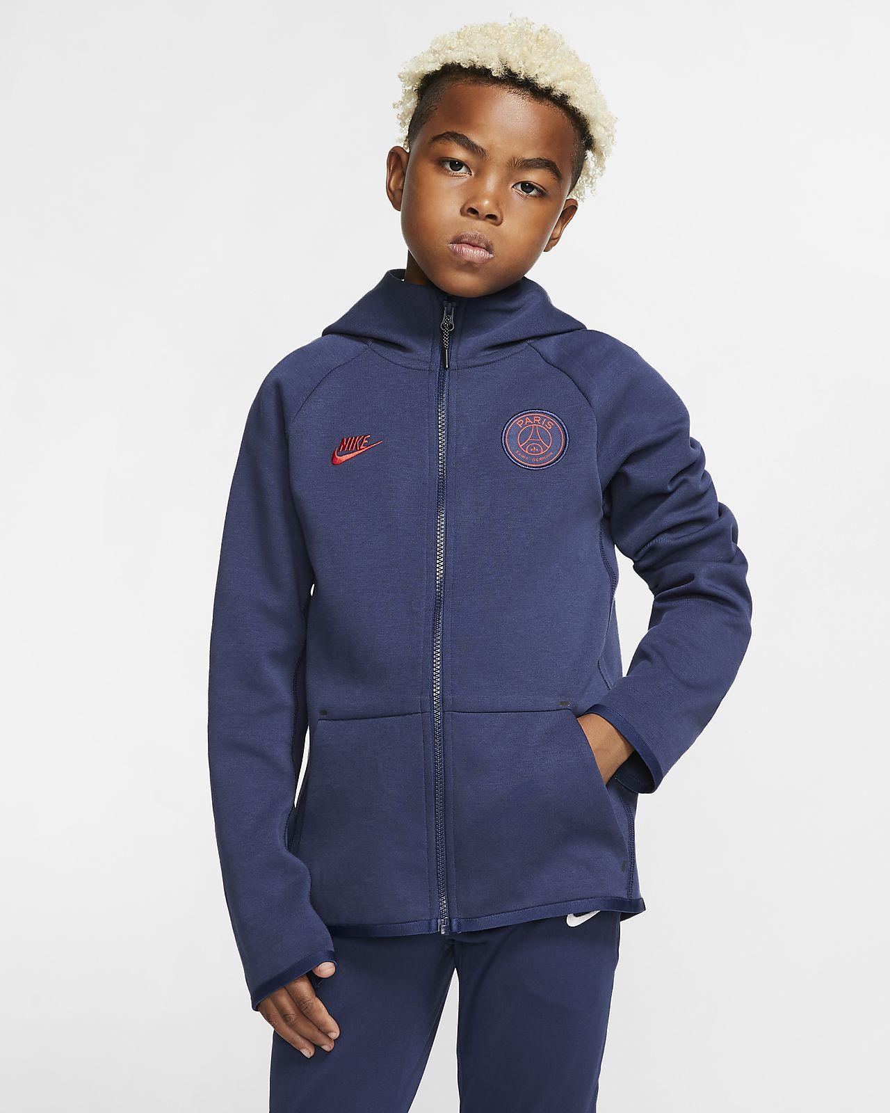 Μπλούζα με κουκούλα και φερμουάρ σε όλο το μήκος Paris Saint-Germain Tech Fleece Essentials για μεγάλα παιδιά