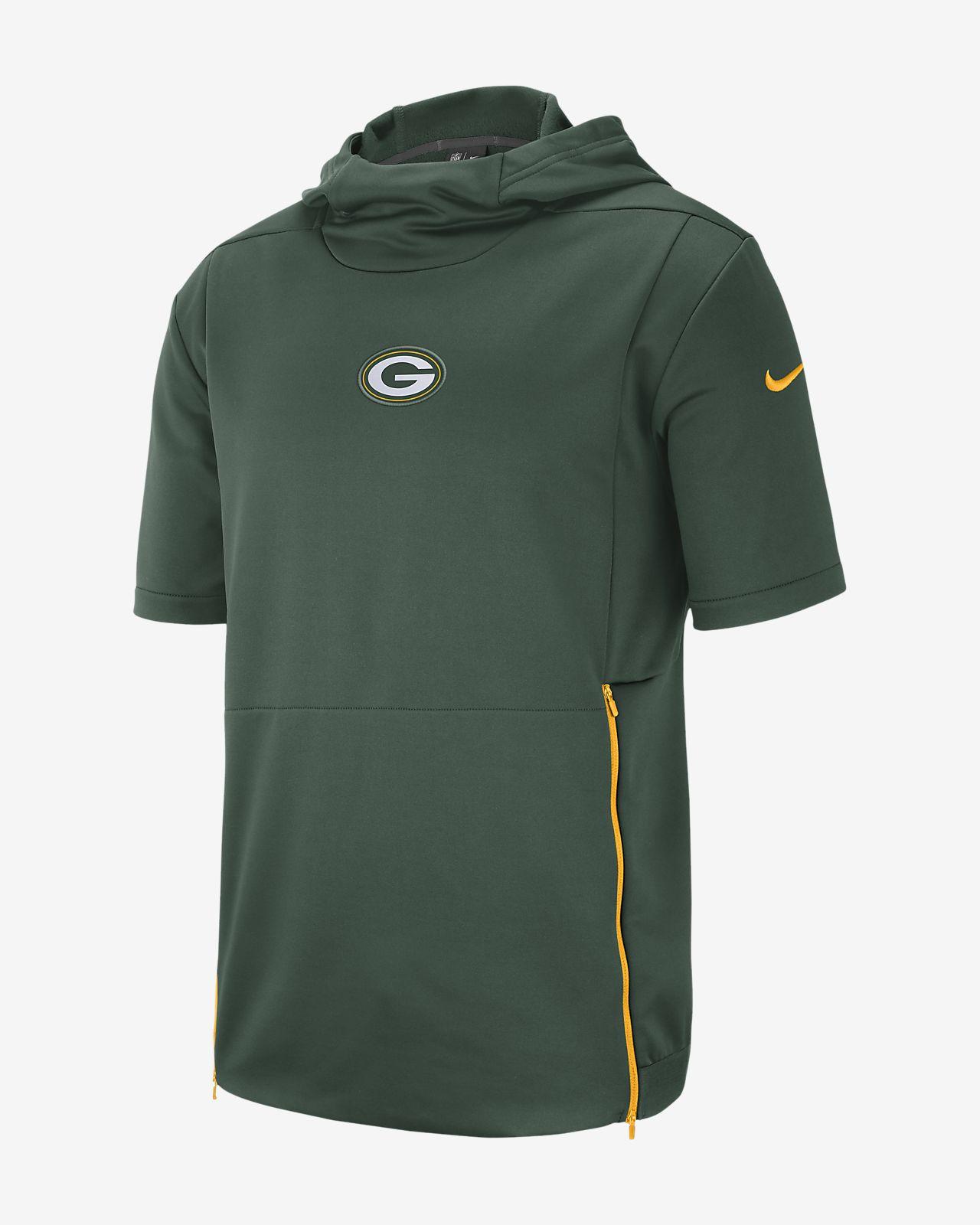 Nike Dri-FIT Therma (NFL Packers)-overdel med hætte og korte ærmer til mænd