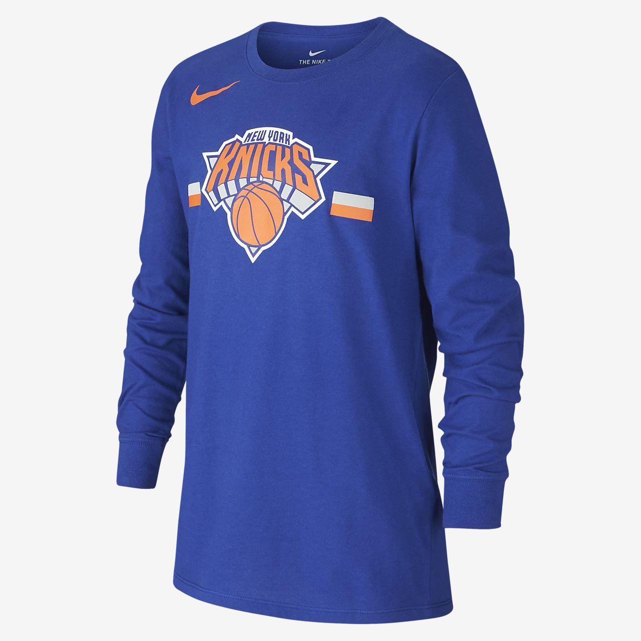 New York Knicks Nike Dri-FIT Logo Older Kids' Long-Sleeve NBA T-Shirt