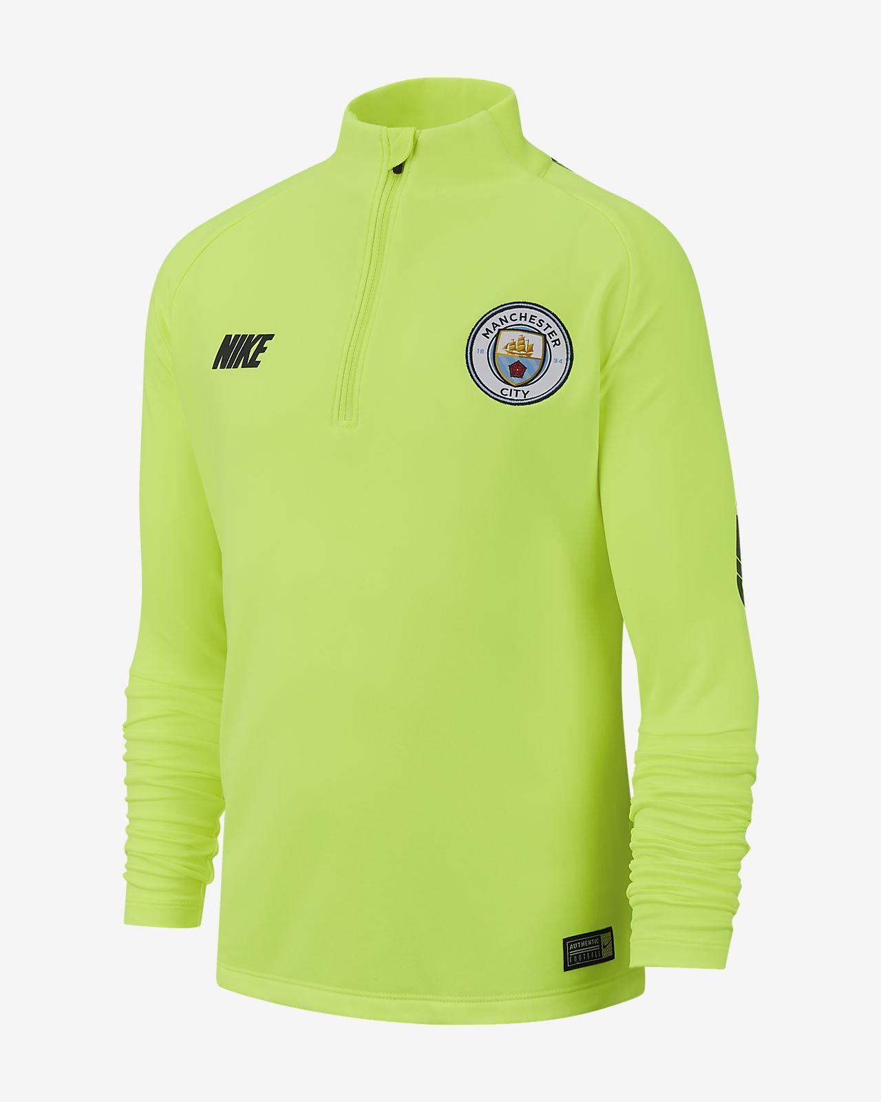Manchester City FC Dri-FIT Squad Drill hosszú ujjú futballfelső nagyobb gyerekeknek