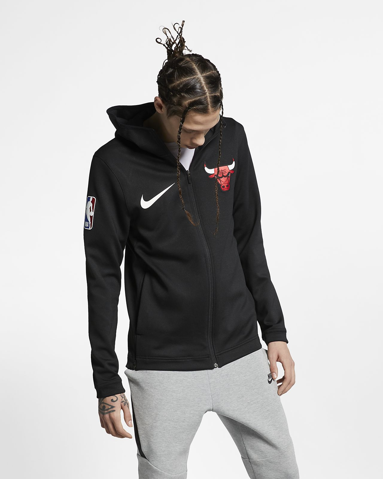 Męska bluza z kapturem NBA Chicago Bulls Nike Therma Flex Showtime