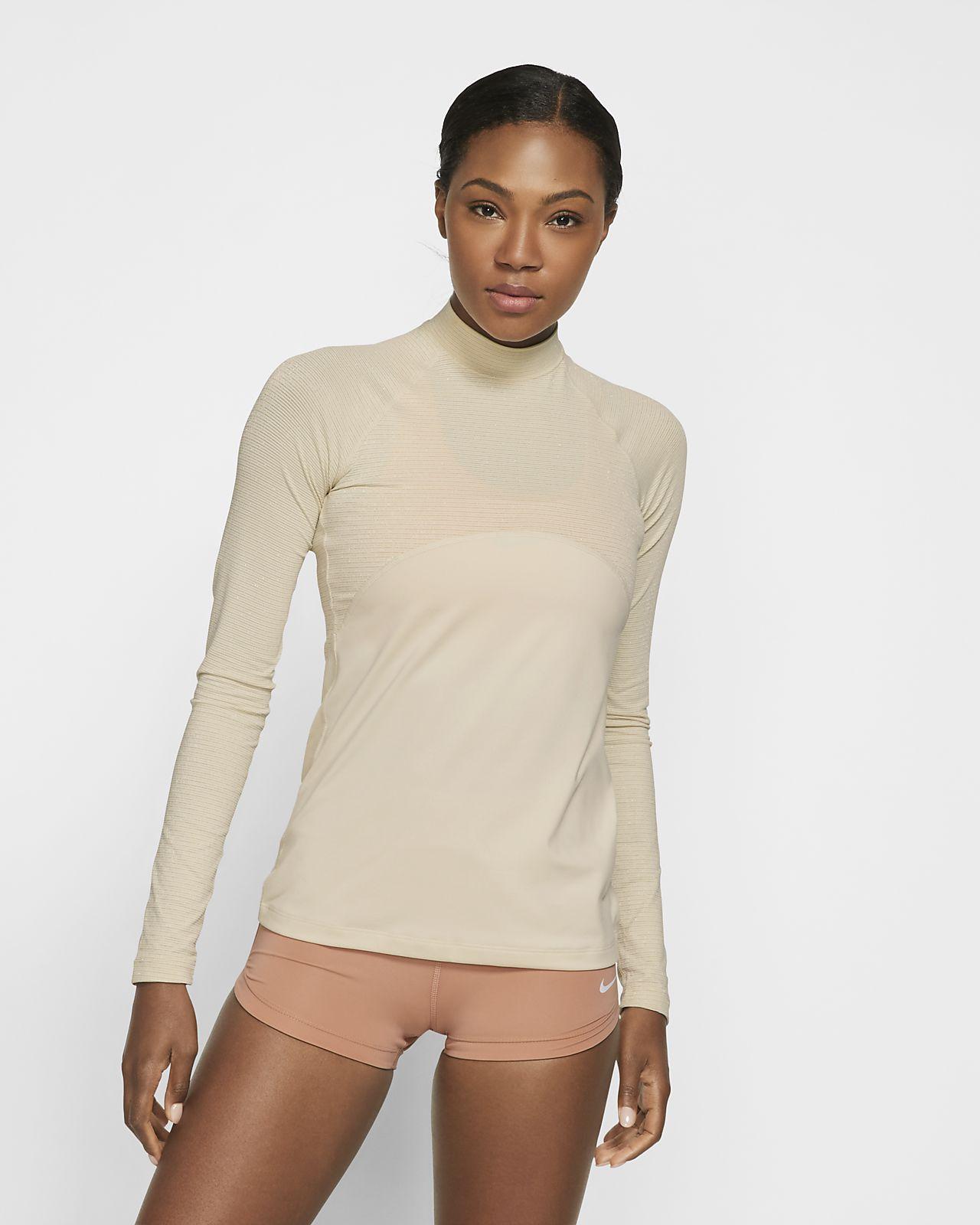 Långärmad skimrande topp Nike Pro Warm för kvinnor