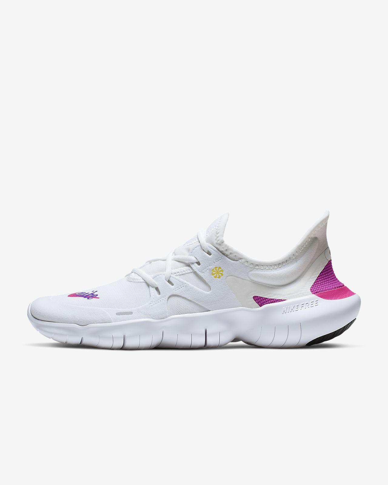 Nike Free Run + 5.0 Damen Laufschuhe rosa weiße Nike Schuhe :