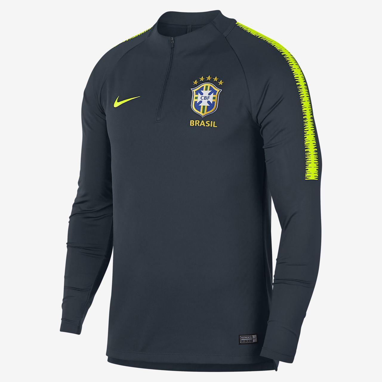 Brasil CBF Dri-FIT Squad Drill-langærmet fodboldtrøje til mænd