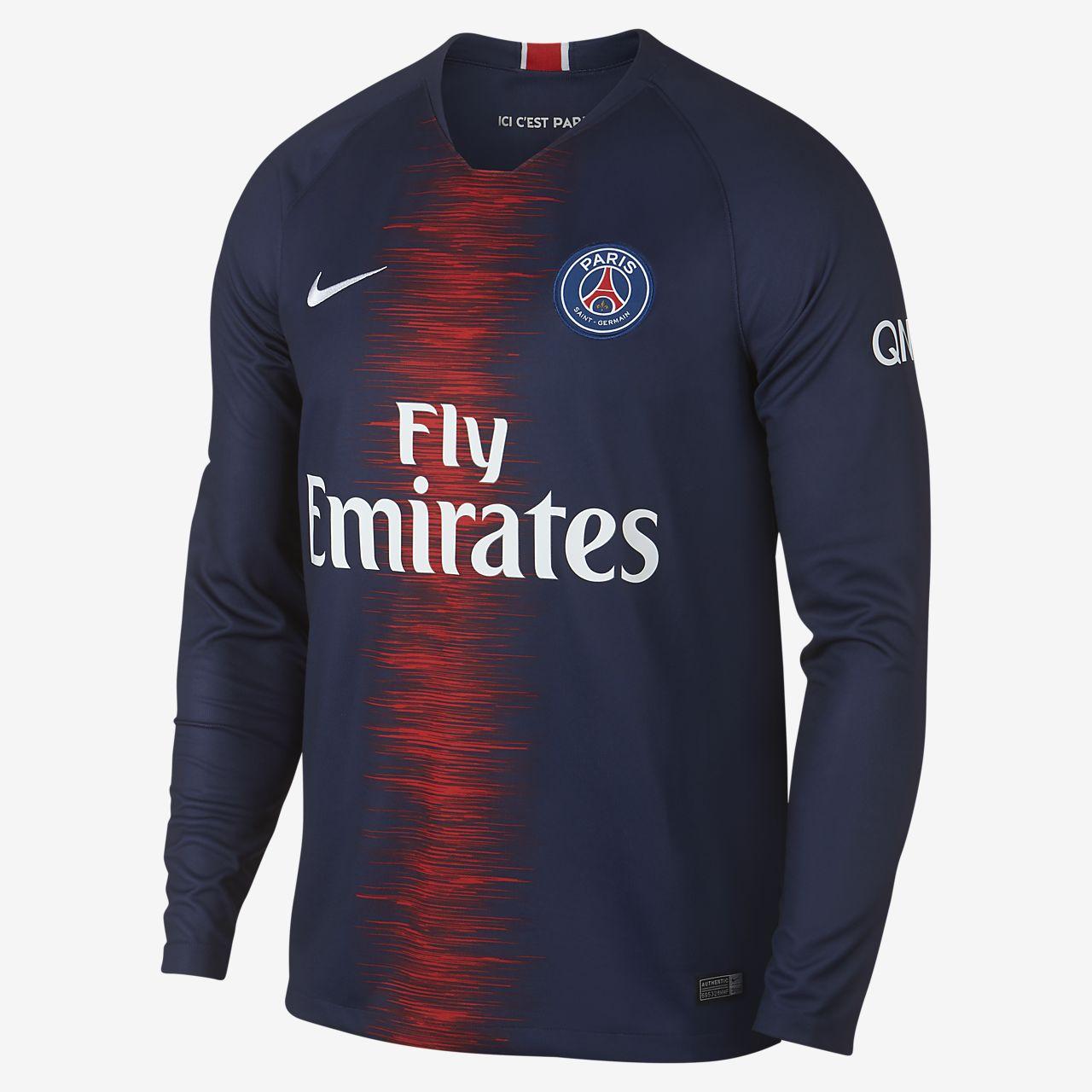 61b118801 Men's Long-Sleeve Football Shirt. 2018/19 Paris Saint-Germain Stadium Home