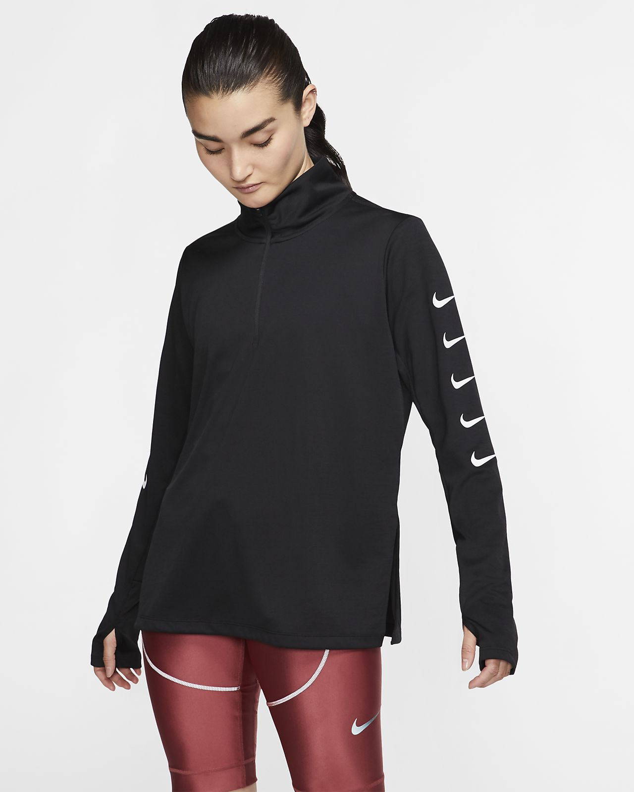 Top de running de medio cierre para mujer Nike Swoosh