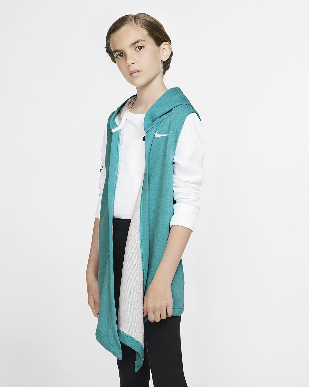 Nike treningsvest med hette til store barn (jente)