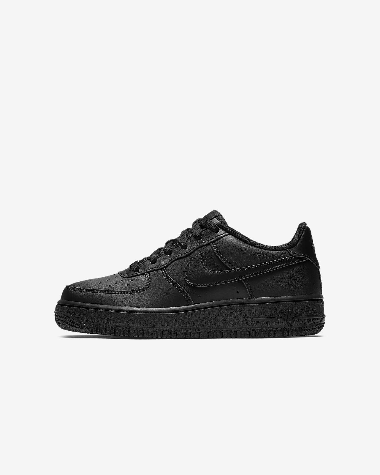 Nike Air Force 1 Triple Black Big Kids' Shoe