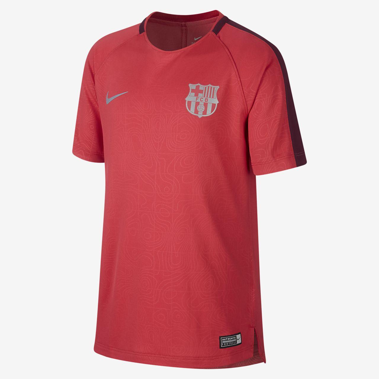 Игровая футболка с коротким рукавом для школьников FC Barcelona Dri-FIT Squad