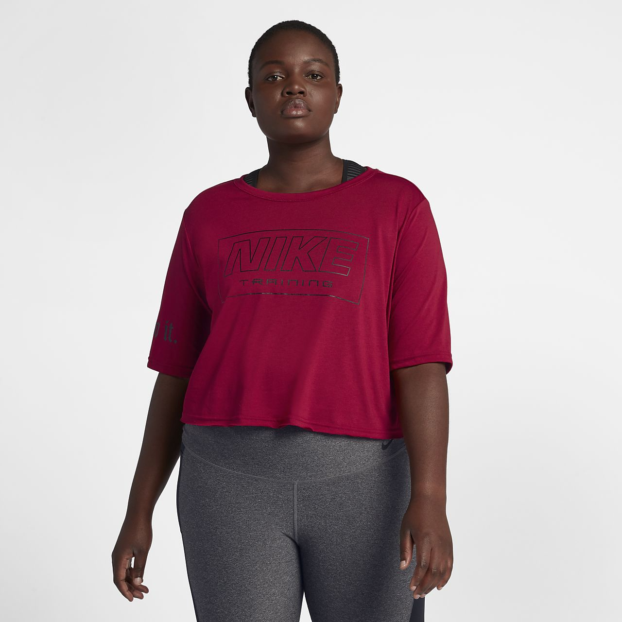 2adb2e0b3063 Γυναικεία κοντομάνικη μπλούζα προπόνησης Nike (μεγάλα μεγέθη). Nike ...