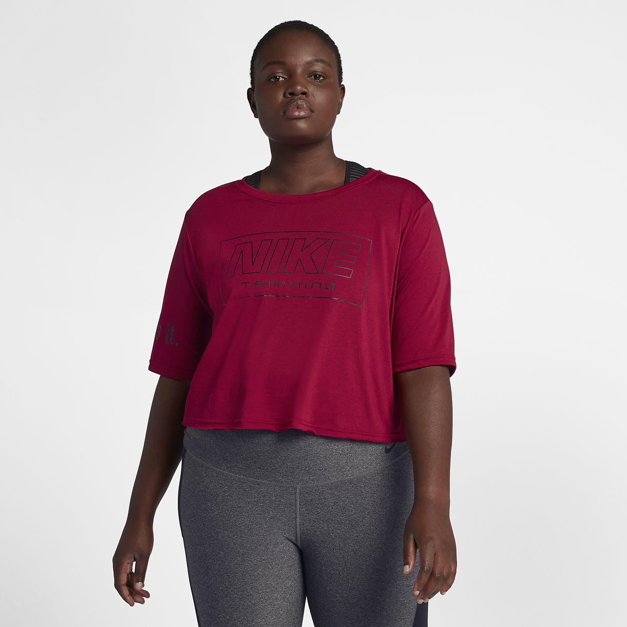 Top de entrenamiento de manga corta para mujer (talla grande) Nike