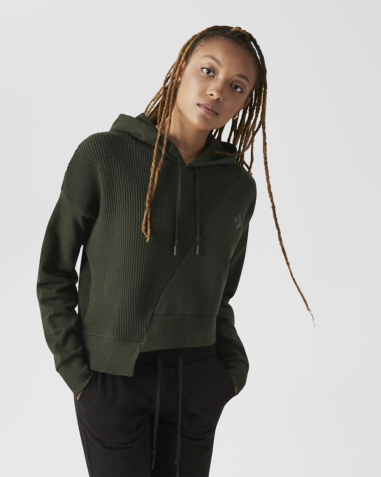 Converse Sweater  Women's Cropped Pullover Hoodie