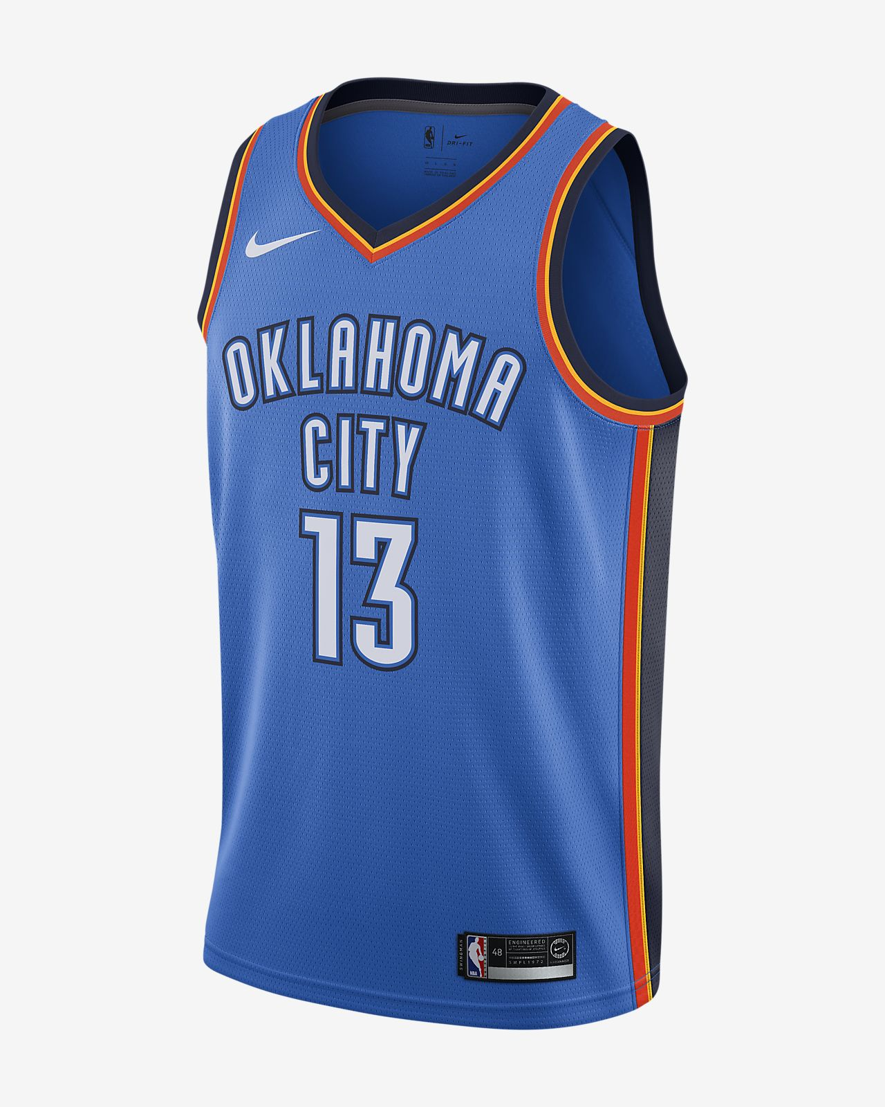 Paul George Icon Edition Swingman (Oklahoma City Thunder) Nike NBA Connected Jersey för män