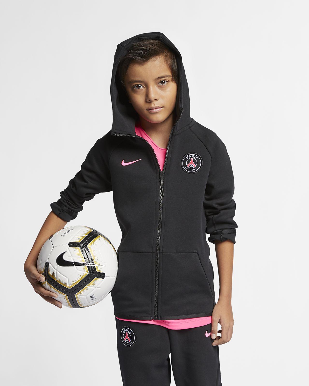 Paris Saint-Germain Tech Fleece-hættetrøje med lynlås i fuld længde til store børn