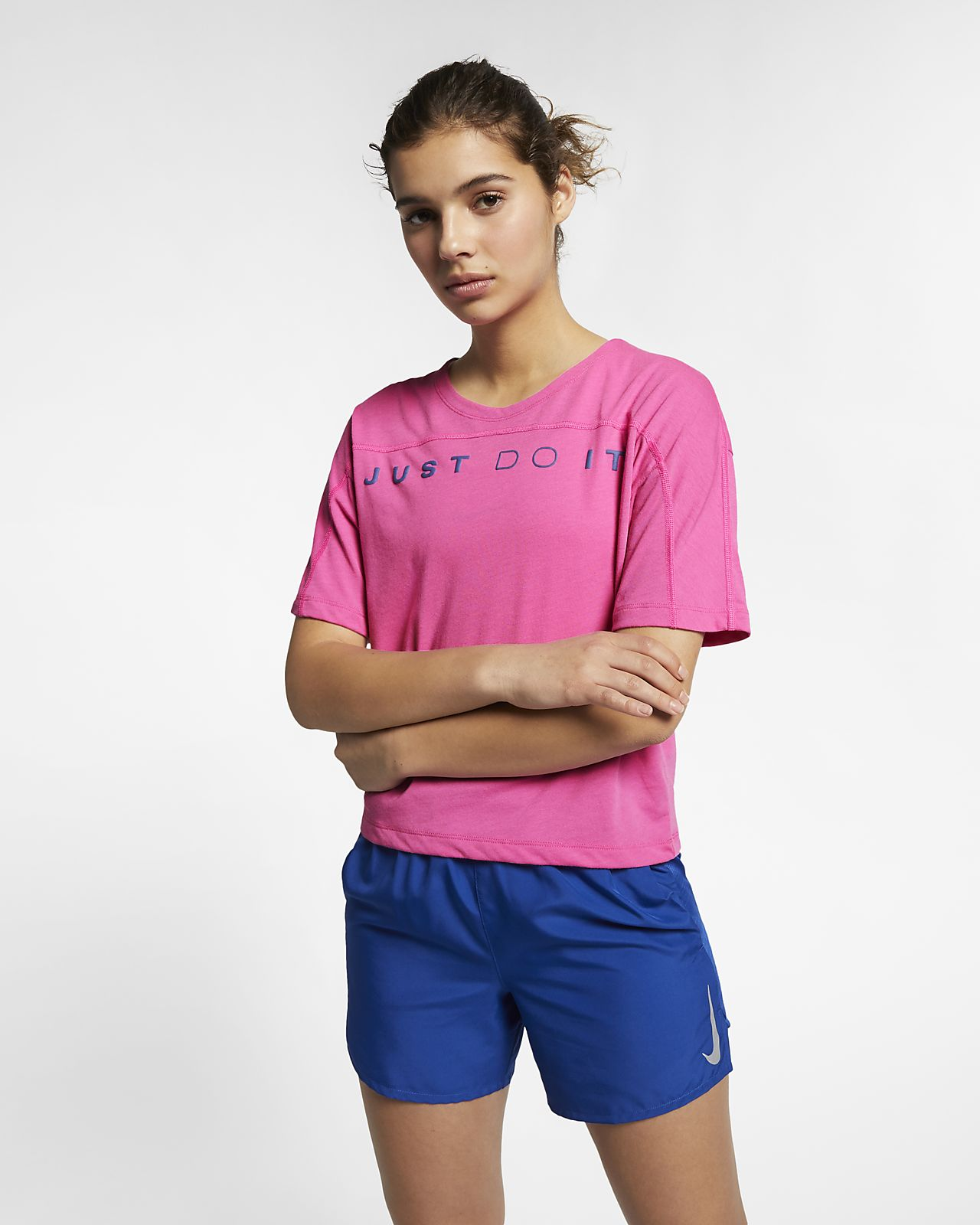 Haut de running à manches courtes Nike Dri-FIT Miler pour Femme