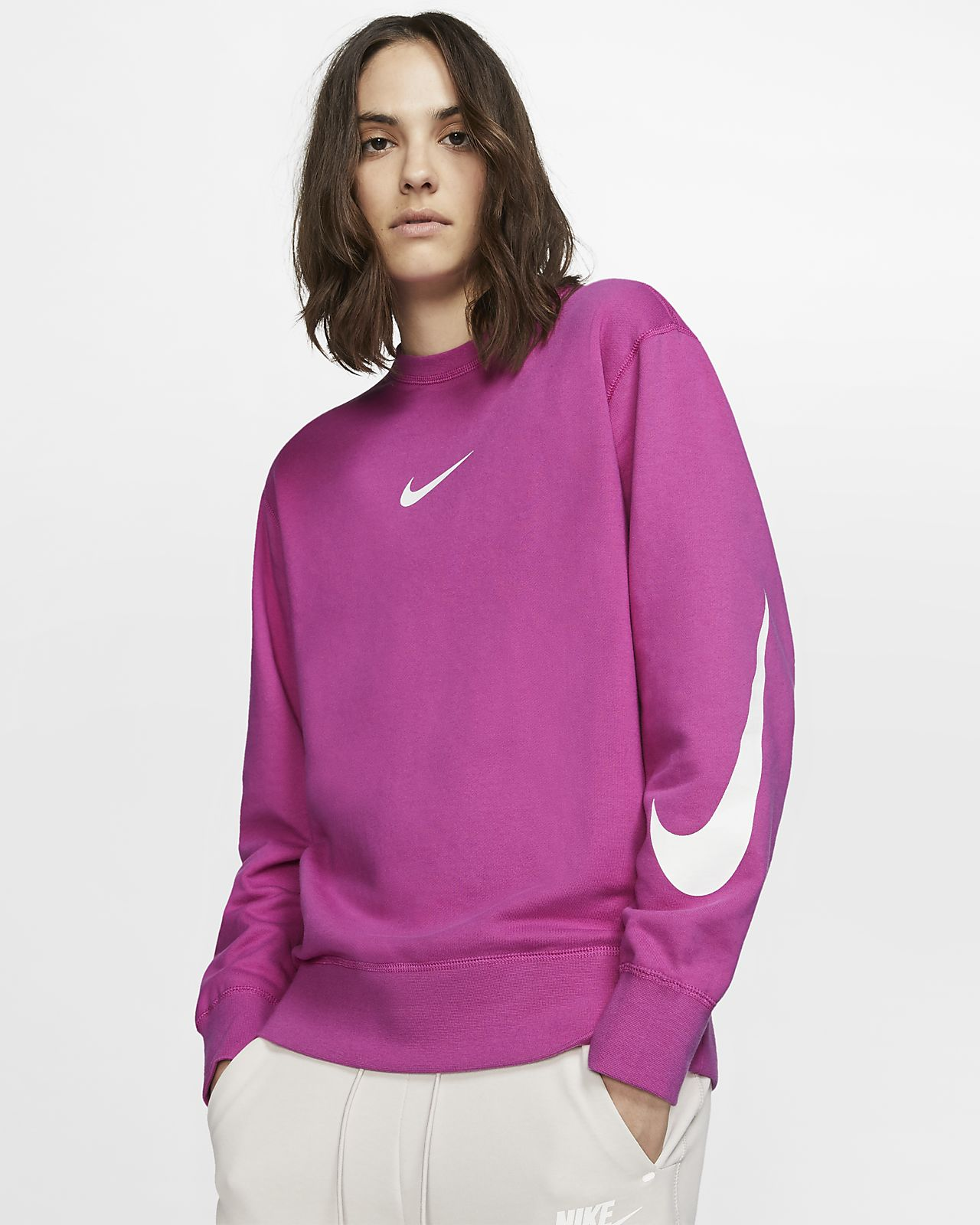 Nike Sportswear Swoosh Long-Sleeve French Terry Crew