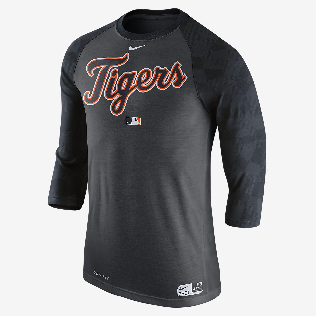 Nike Legend Raglan (MLB Tigers) Men's 3/4 Sleeve Top Black