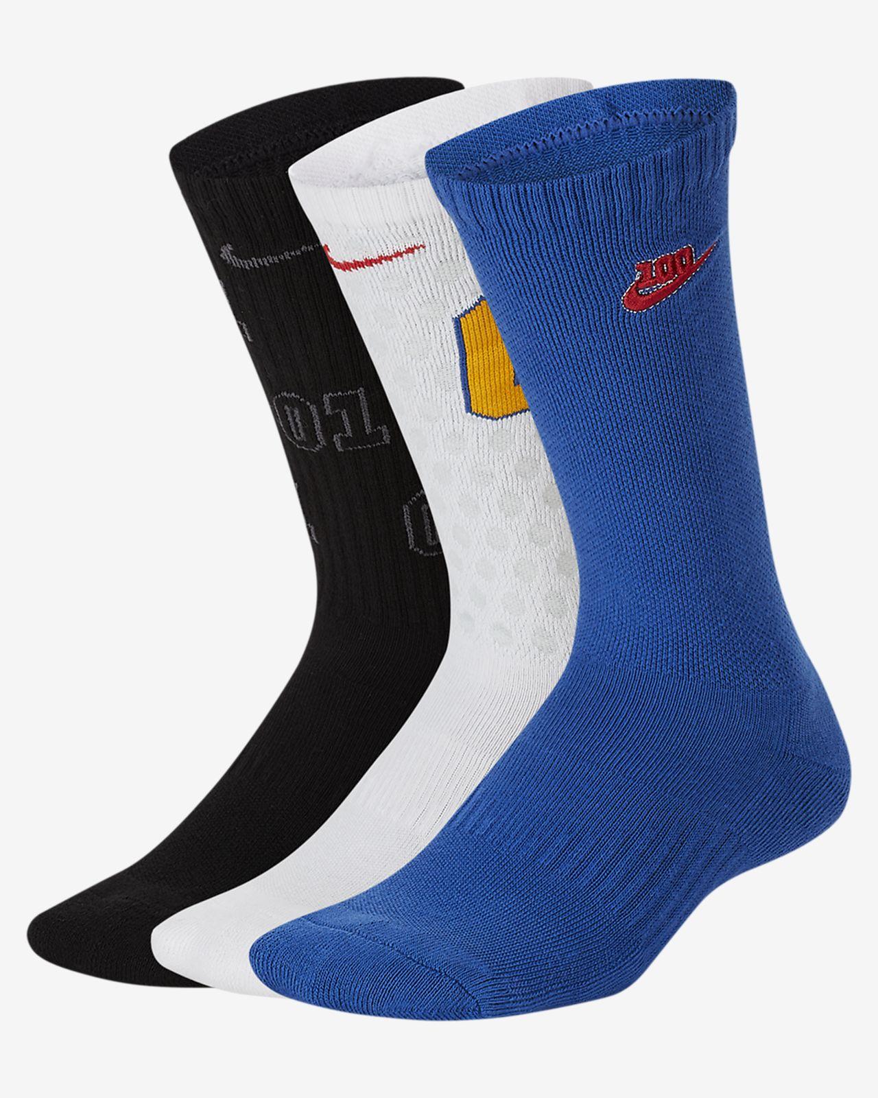 Παιδικές κάλτσες μεσαίου ύψους με αντικραδασμική προστασία Nike Everyday (3 ζευγάρια)