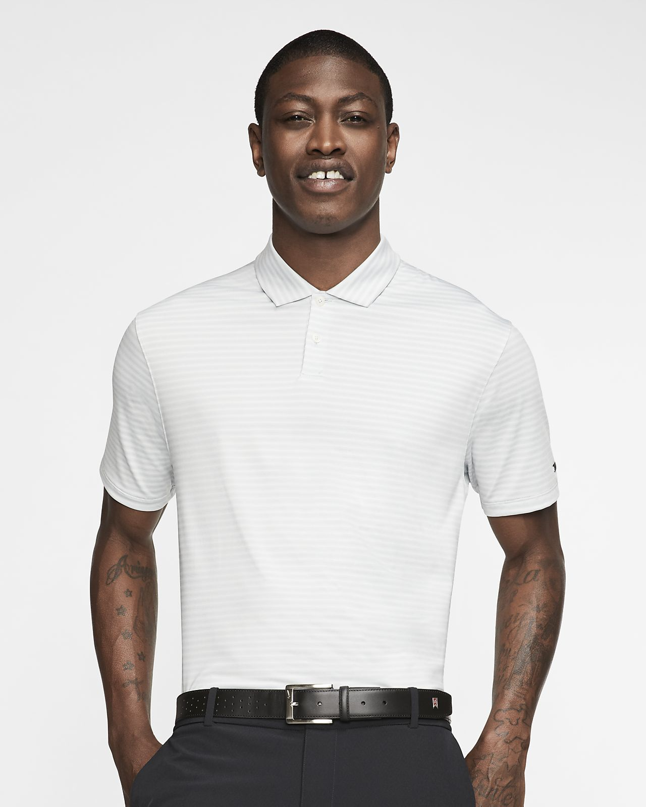 Nike Dri-FIT Tiger Woods Vapor 男子条纹高尔夫翻领T恤