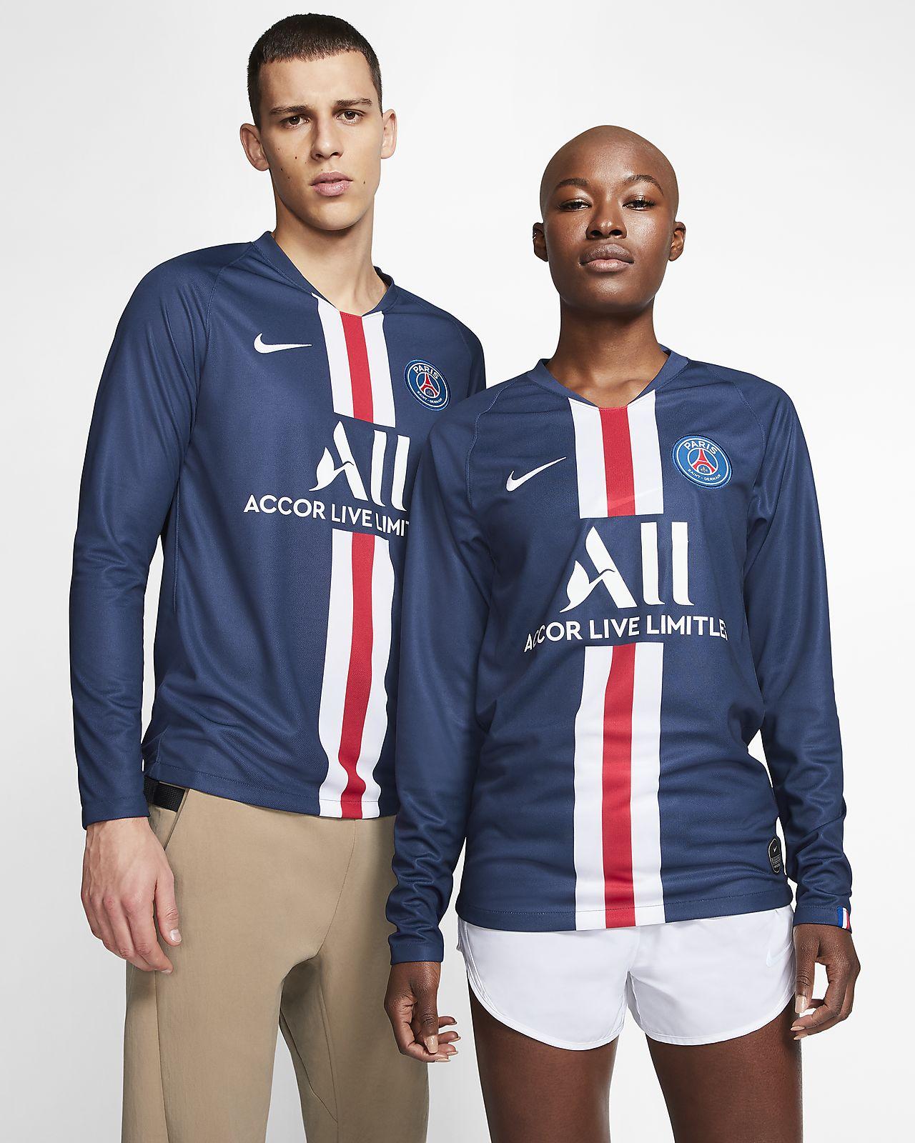 Langærmet Paris Saint-Germain 2019/20 hjemmebane-fodboldtrøje til mænd