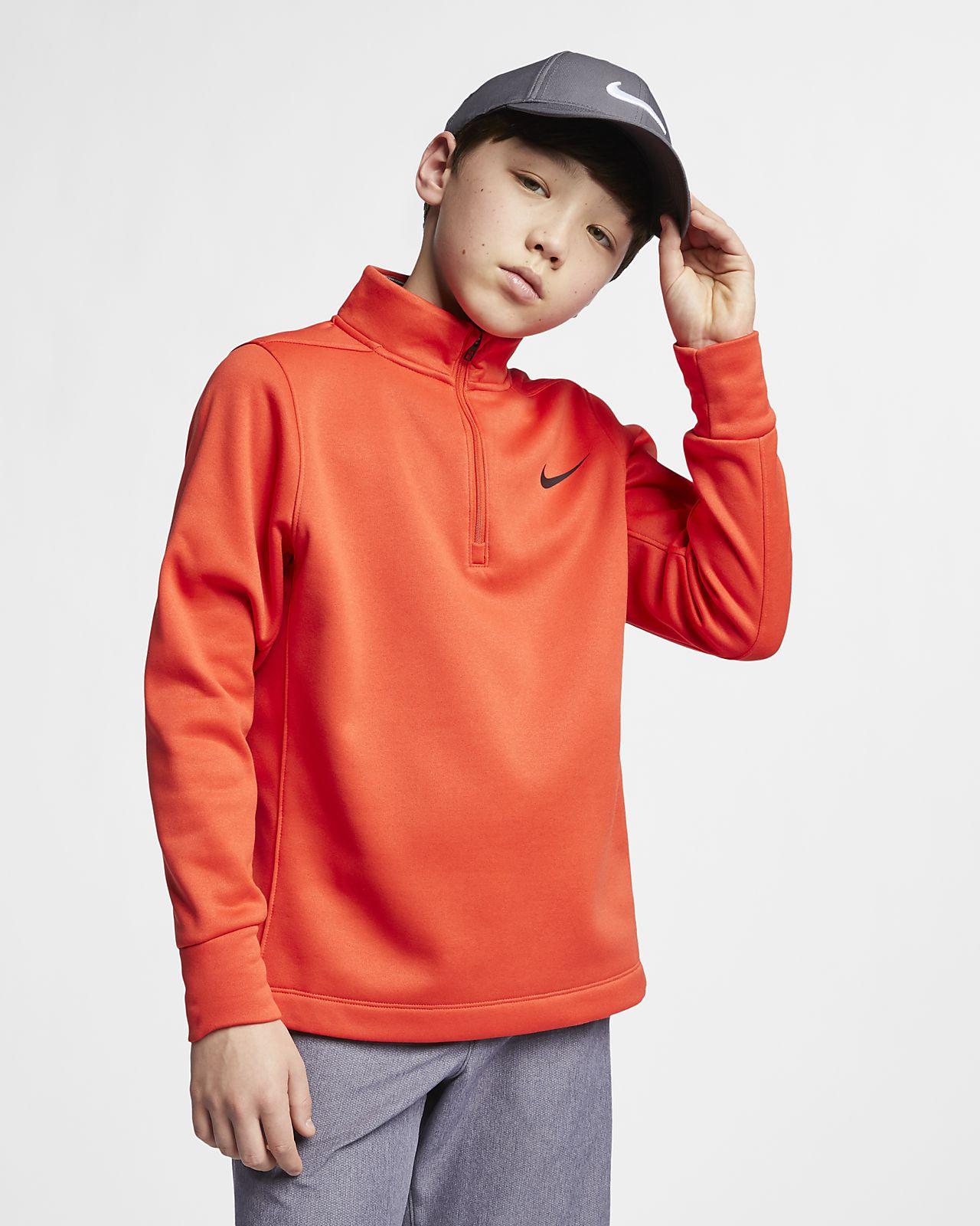 Футболка для гольфа с молнией на половину длины для мальчиков школьного возраста Nike Dri-FIT Therma