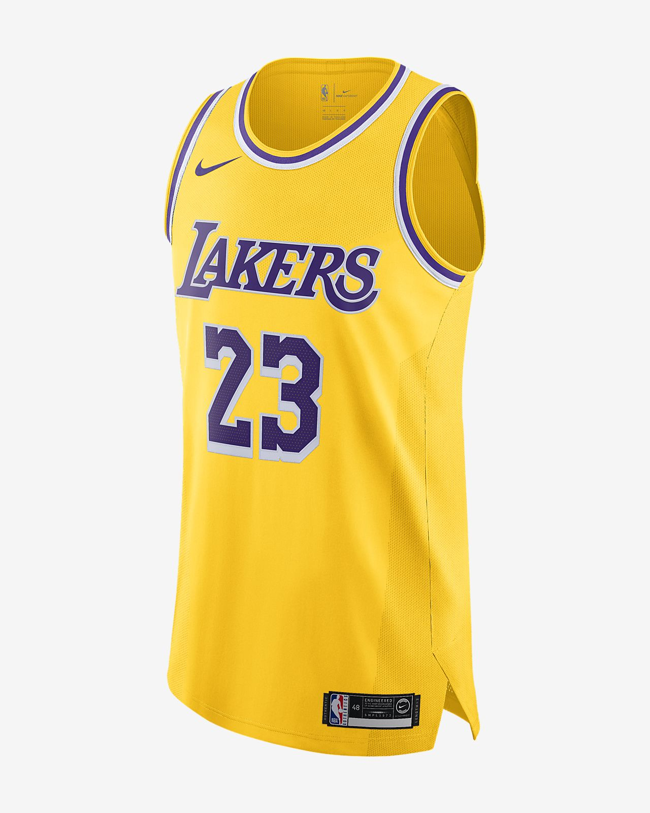 LeBron James Icon Edition Authentic (Los Angeles Lakers) tilkoblet Nike NBA-drakt til herre