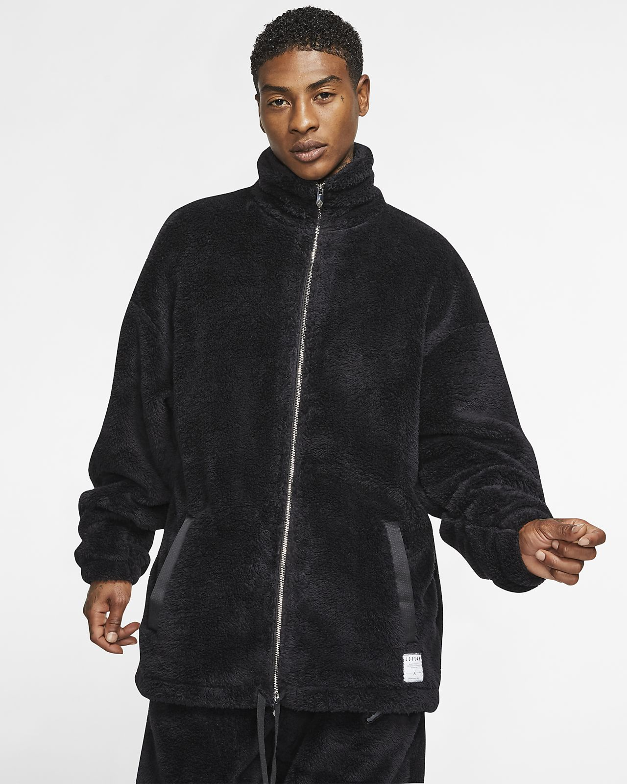 Jordan Black Cat Sherpa Coaches' Jacket