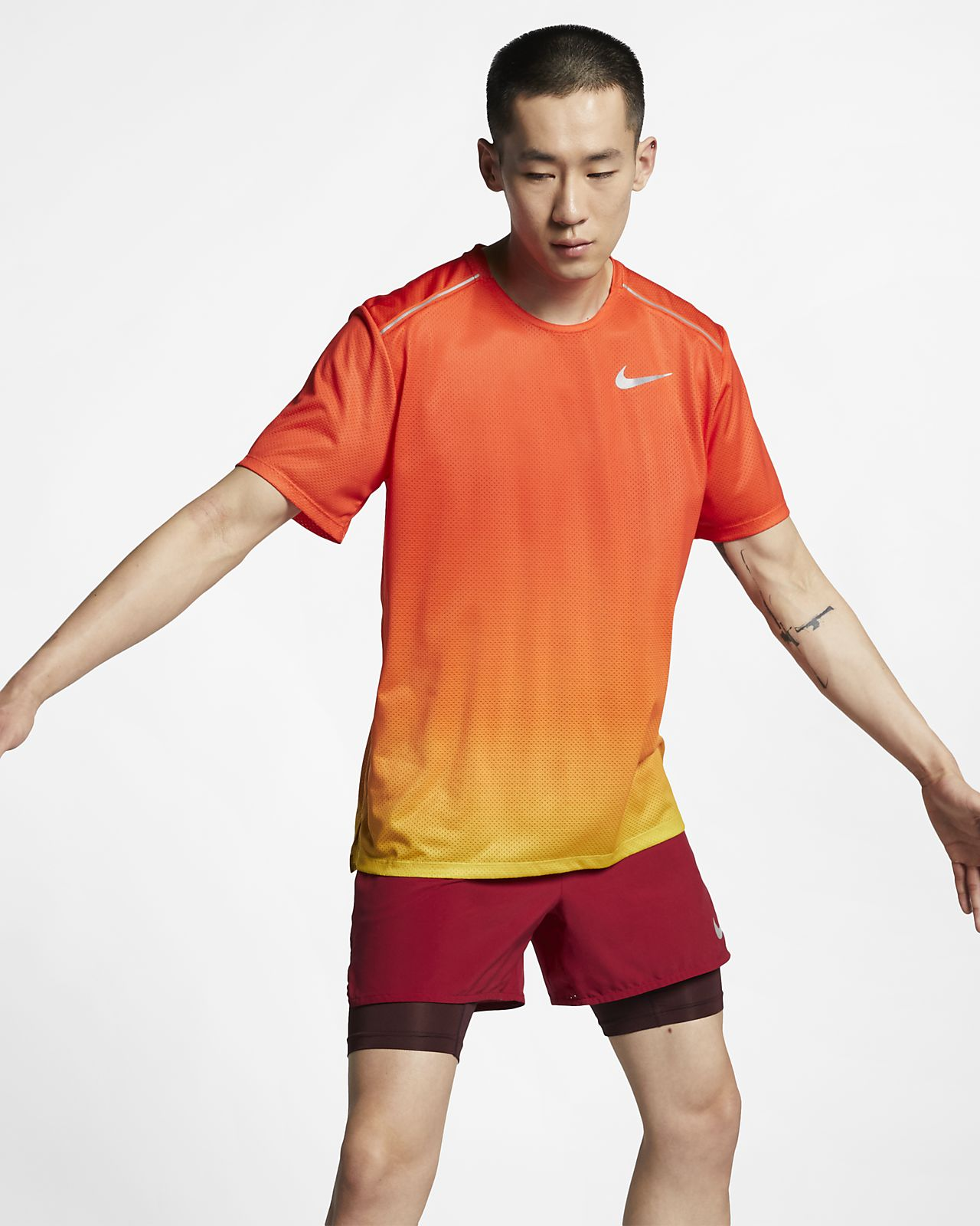 Haut de running à manches courtes imprimé Nike Dri-FIT Miler pour Homme
