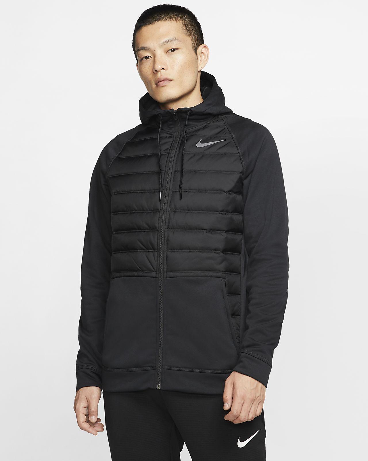 Męska bluza treningowa na zimę z kapturem i zamkiem na całej długości Nike Therma