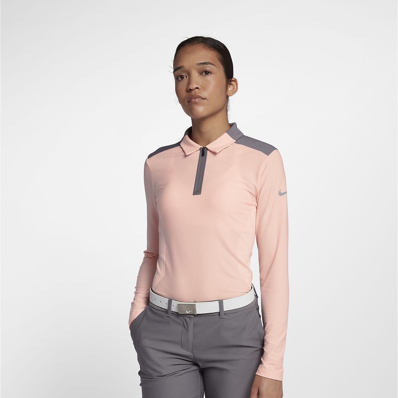 Nike Zonal Cooling-golfpolo med lange ærmer til kvinder
