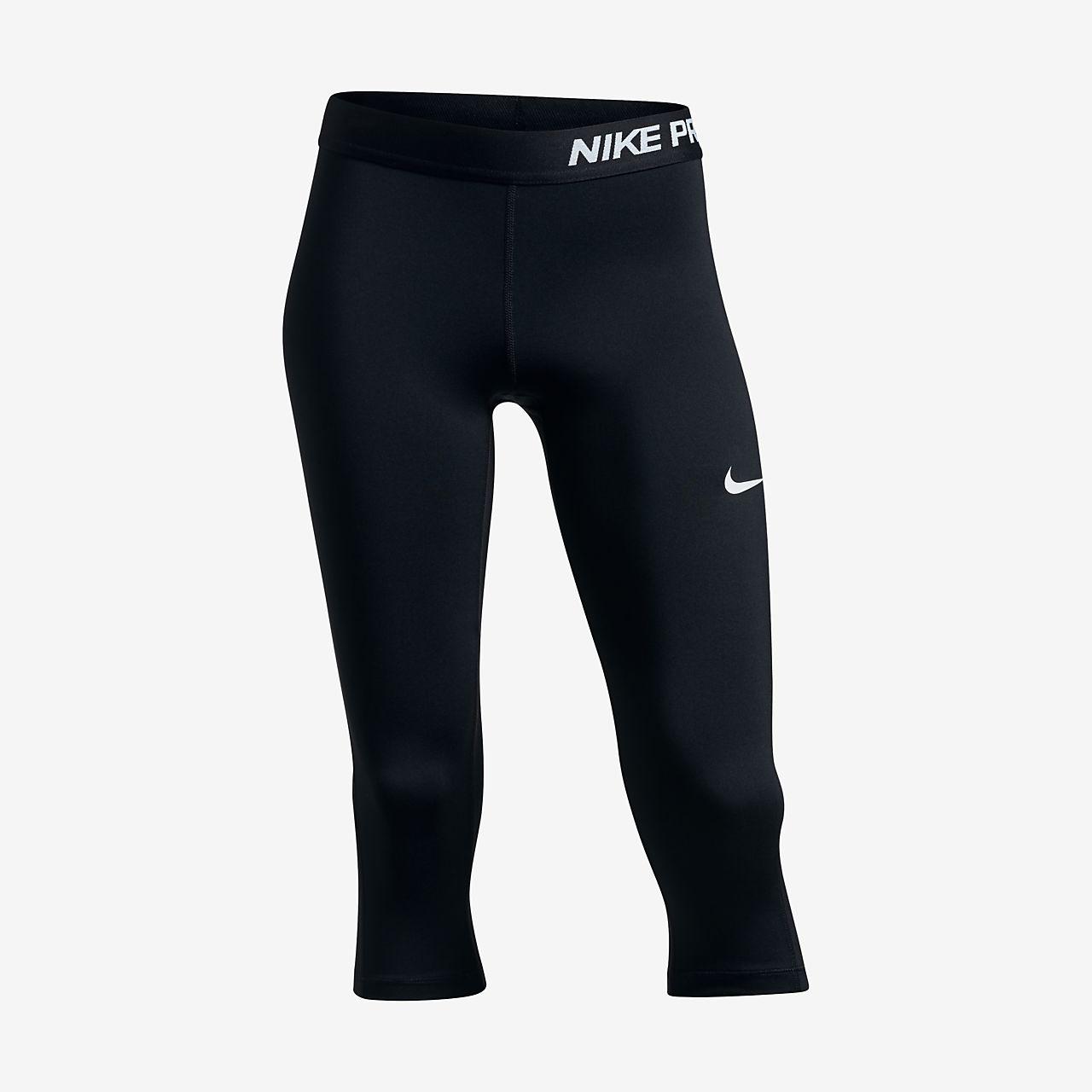 Nike Pro Cool Girls Training Capris Black/Black/White COMUK:1846