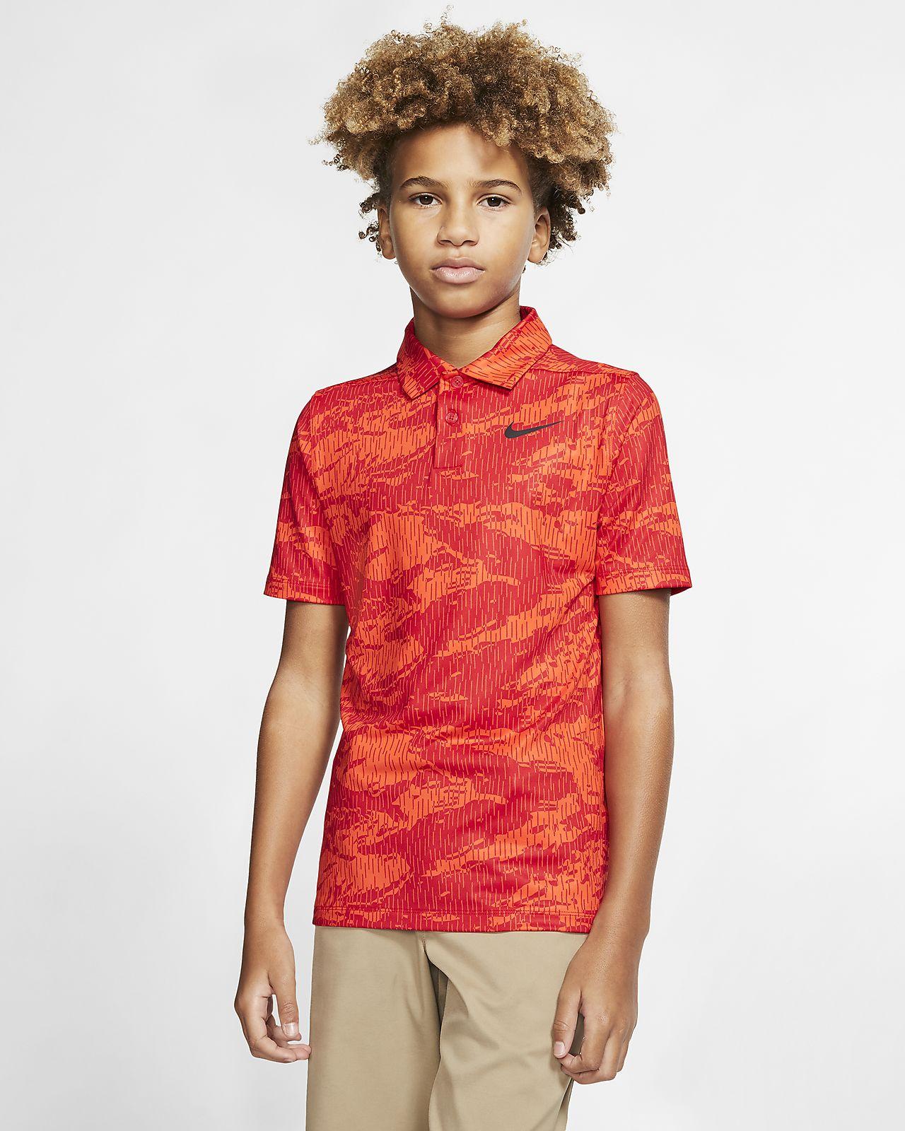 Nike Dri-FIT golfskjorte med trykk til gutt