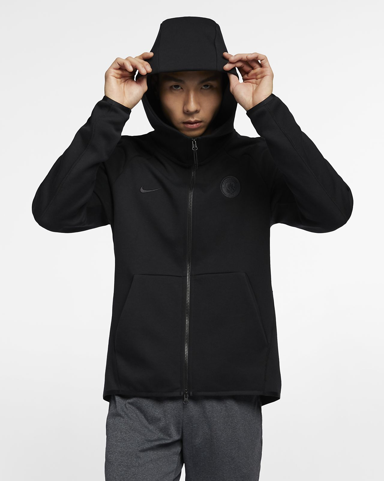 Pánská mikina Manchester City FC Tech Fleece s kapucí a dlouhým zipem 0d28ce73c1