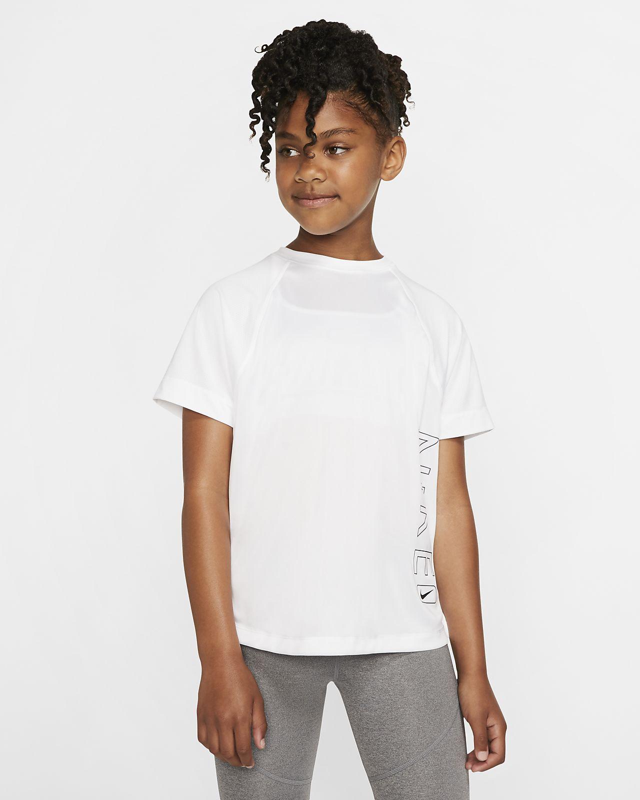 Nike Dri-FIT kortermet treningsoverdel med grafikk til store barn (jente)
