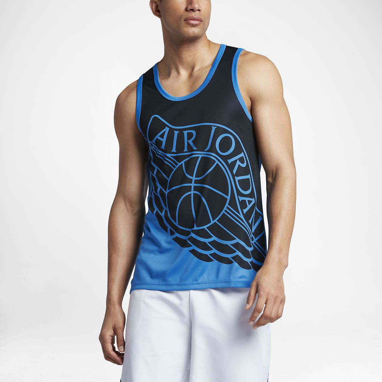 Jordan Wings Blockout Men's Basketball Tank Tops Black/Light Photo Blue