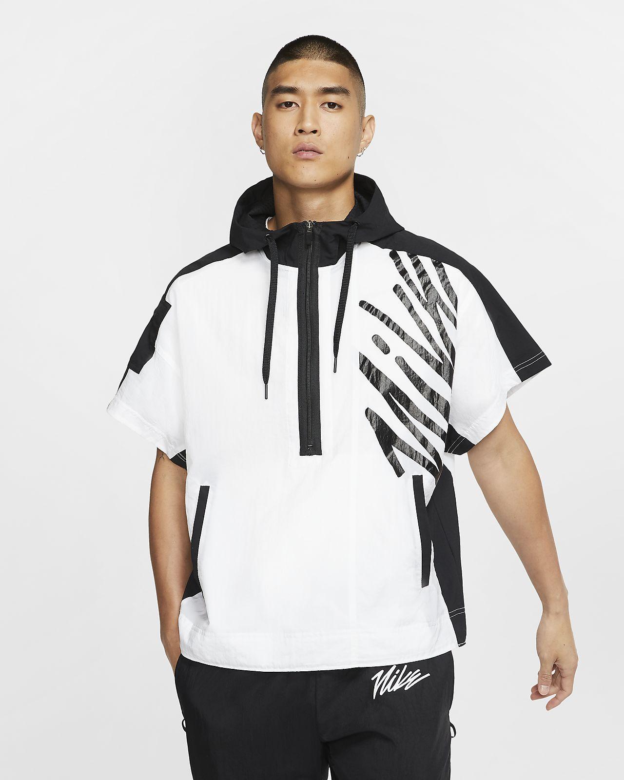 Nike 男款短袖半長式拉鍊訓練連帽上衣