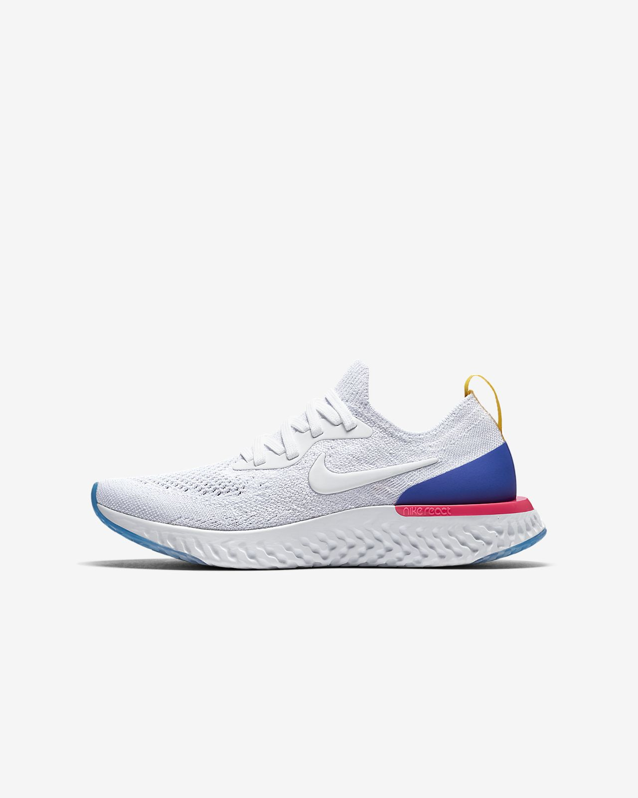 EPIC REACT FLYKNIT - Laufschuh Neutral - white/racer blue/pink