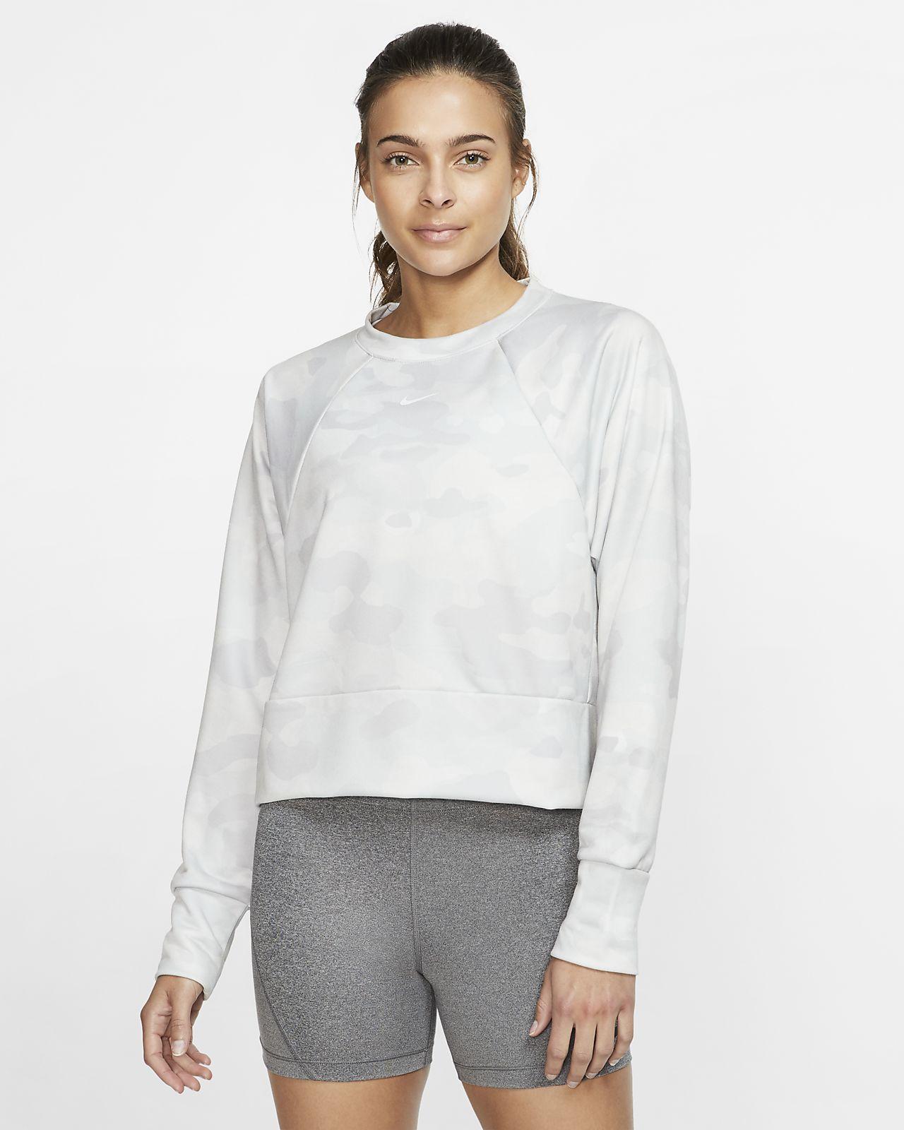 Camisola de treino de lã cardada com padrão camuflado Nike Dri-FIT para mulher