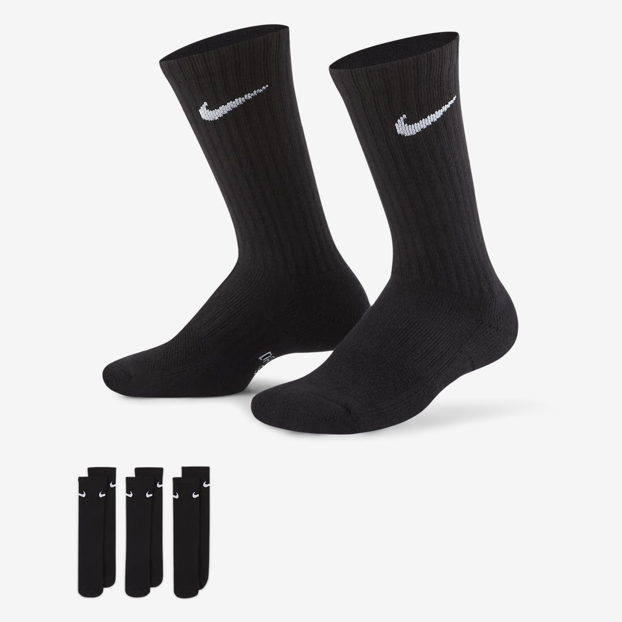 Nike Performance Cushioned Crew Kinder-Trainingssocken (3 Paar)