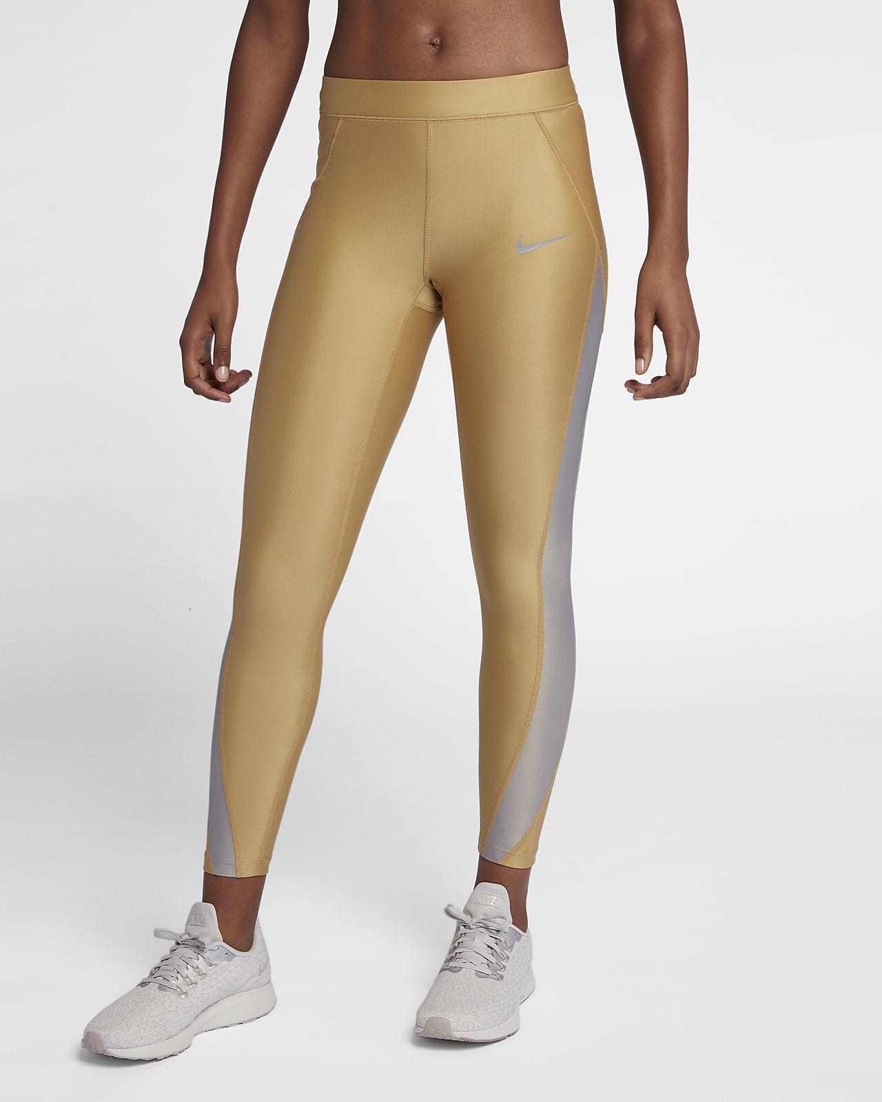 Nike Speed Metallic 7/8-hardlooptights met halfhoge taille voor dames