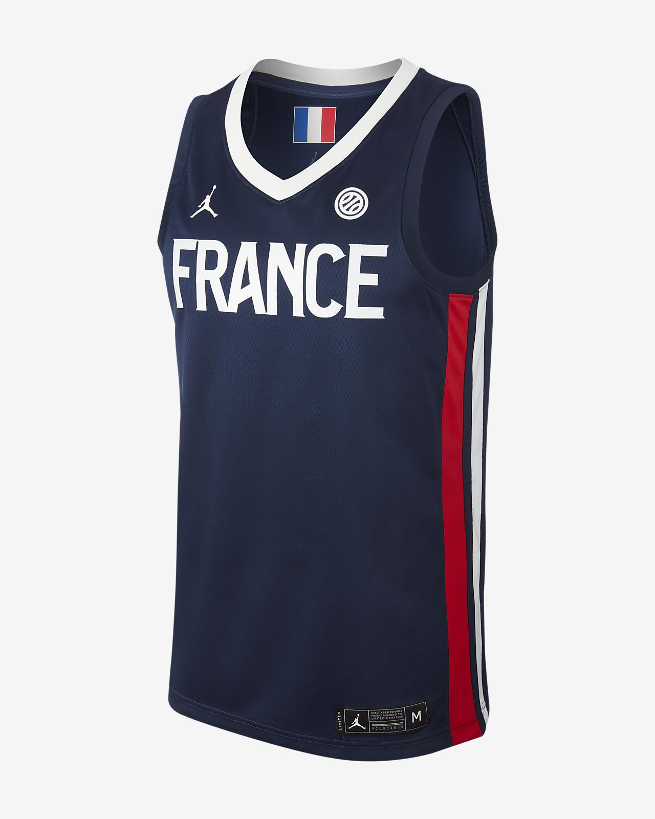 Maillot de basketball France Jordan (Road) pour Homme